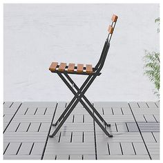 IKEA TÄRNÖ Chair, Outdoor Foldable Black/grey Brown Stained Easy To Fold Up  And Put Away.