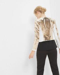 Metallic sequin jacket - Gold | Suits | Ted Baker