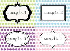 DIY Printable Labels for Dessert Table or Candy Buffet Polka Dot background in color of your choice.