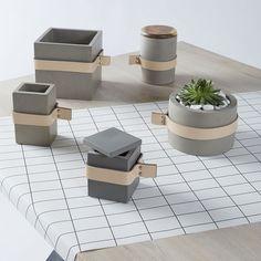 Concrete and leather pots, vases and bowls now available online. #concrete #bowls #vases #decor