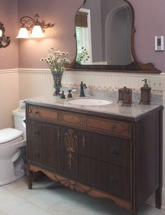 DIY Dresser to Vanity | The Owner-Builder Network ~ Have you been thinking of revamping your bathroom? Here's a DIY project for you… Turn an old dresser into a vanity!