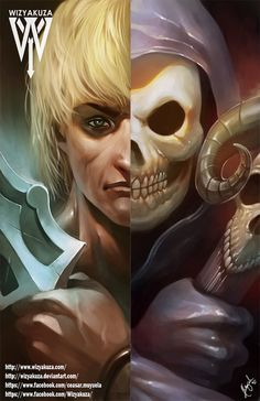 He-Man and Skeletor Split  Masters of the Universe  by Wizyakuza
