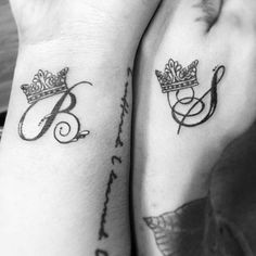 51 Best Matching Couple Tattoos: Cool Designs + Ideas Guide) King and Queen Matching Couple Tattoos - Best Tattoo Ideas and Designs For Men, Women and Couples - Cute Matching Tattoos For Husband and Wife, Boyfriend and Girlfriend Bff Tattoos, Trendy Tattoos, Script Tattoos, Bodysuit Tattoos, Husband Name Tattoos, Tattoo For Son, Husband Tattoo For Wife, Marriage Tattoos, Relationship Tattoos
