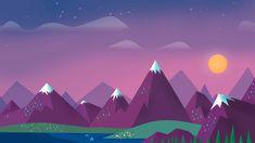 1920x1080 Wallpaper minimalism, sky, clouds, sun, mountains, lake, landscape