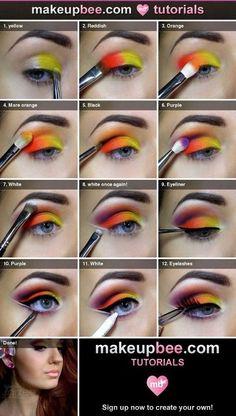 Maquillaje multicolor
