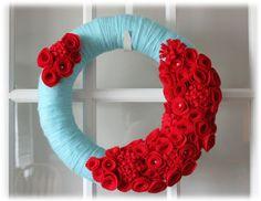 pinterest valentine yarn crafts | Valentines Day Yarn Wreath Teal Aqua Blue Red Home Decor. $45.75, via ...