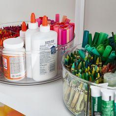 The Home Edit Toy & Craft Storage Starter Kit Craft Closet Organization, School Organization, Craft Storage Solutions, The Home Edit, Pantry Labels, Space Crafts, Craft Space, Container Store, Lazy Susan