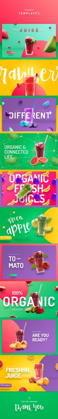 Buy Organic Juice - 10 Premium Hero Image Templates by CreativeForm on GraphicRiver. Organic Juice Premium Templates are set of 10 beautiful hi-res templates for print or web. Healthy Fruit Desserts, Fruit Juice Recipes, Healthy Food, Smoothies For Kids, Fruit Smoothies, New Fruit, Fresh Fruit, Juice Store, Fruit Logo