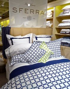 """Barrington"" Bed Linens by Sferra. Available in chartreuse and navy. Add with the classic ""Orlo"" sheeting for a gorgeous, spring bedding ensemble!"