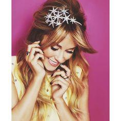 Jennifer Behr galaxy headband on Lauren for Cosmo.