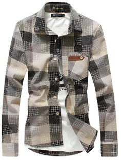 Men's Button Down Checkered Shirt