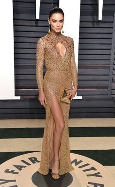 Adriana Lima from 2017 Vanity Fair Oscars After-Party  The supermodel channeled an Oscar statue in a golden gown with a thigh-high slit.