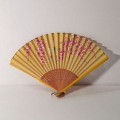 Folding Fan Pink Blossom Pleated Paper Fan Gold accented Chinese Hand Fan Paper and Wood Fan Yellow and gold Fan vintage FREE USA SHIPPING #FoldingFan