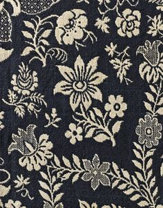 Navy Blue fabric with White Floral Embroidery via mahala knight Whole Cloth Quilts, Cottage Style Decor, Weaving Textiles, Art Background, Fabric Samples, Cotton Pillow, Yarn Colors, Geometric Designs, Floral Motif