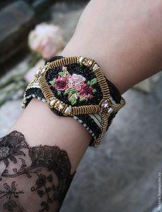 """Браслет """"Rose"""" резерв. Handmade. Черный, красивый браслет, хлопок"""