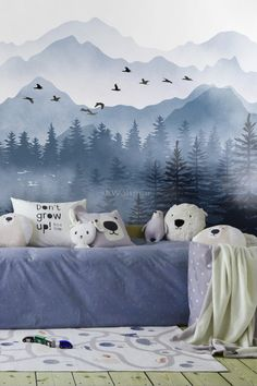 Monochrome Mountainscape with Misty Forest Wallpaper Mural – Wallpaper Baby Room Design, Baby Room Decor, Nursery Decor, Wall Decor, Themed Nursery, Nursery Design, Nursery Ideas, Playroom Ideas, Bedroom Murals