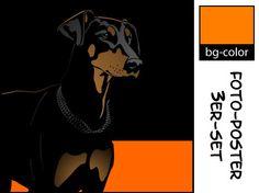 Dobermann 2 unkupiert 3 x popart Hund Poster Retro Foto | eBay