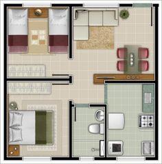 plantas de casas com 2 quartos com cozinha americana3