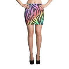GLAM RAINBOW ZEBRA Mini Skirt