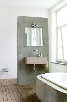 Concrete bathroom sink and tub Concrete Sink, Concrete Bathroom, Bathroom Flooring, Stone Bathroom, Poured Concrete, Polished Concrete, Wood Flooring, Bad Inspiration, Bathroom Inspiration