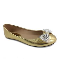 Gold Lace Bow Ballet Flat