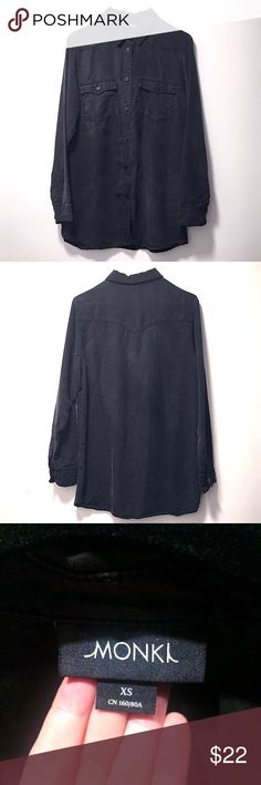 Monki soft black button oversized shirt Soft black button shirt in great condition Monki Tops Button Down Shirts