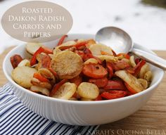Roasted Daikon Radish, Carrots and Peppers