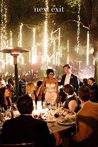 una decoracion para casamiento muy original: tiras de luces blancas atadas a los extremos de las ramas