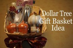 DollarTree Gift Basket Idea 🍂(Fall/Autumn) 2015: DivaDollFlawless Fall Gift Baskets, Homemade Gift Baskets, Homemade Gifts, Diy Xmas Gifts, Fall Gifts, Thanksgiving Gifts, Baby Shower Prizes, Baby Shower Fall, Baby Shower Gifts