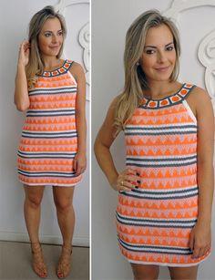 vestido crochet naranja
