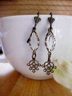 Long Crystal Dangle Art Deco Antique Brass by BlueArtichokeDesigns, $22.00
