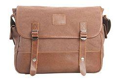 Muchuan Unisex Genuine Leather Canvas Farbic Messenger Bag Laptop Bag Shoulder Bag Size:38cm*8cm*30cm Internal structure:cell phone pocket,interior zipper pocket.