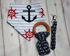 Nautical Baby Drool Bandana Bib Set,Pacifier Clip, Organic Wooden Teething…
