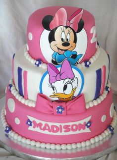 Minnie Mouse & Daisy Duck Birthday Celebration Cakes — Children's Birthday Cakes - My WordPress Website Minnie Mouse Birthday Cakes, Custom Birthday Cakes, Minnie Mouse Theme, Minnie Mouse Cake, Mickey Mouse, Daisy Duck Cake, Daisy Duck Party, Daisy Cakes, Celebration Cakes