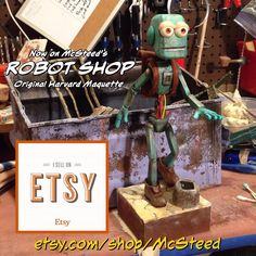 Harvard now on McSteed TVs Robot Shop. More #robots coming soon. #Robot #StopMotion #StopFrame #animation #resin #casting #etsy