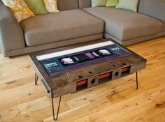 Stylish Coffee Tables Shaped Like Old School Cassette Tapes With Cleverly Hidden Storage