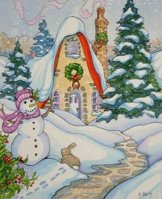 """""""Welcoming a Bit of Snow for Christmas Storybook Cottage Series"""" - Original Fine Art for Sale - © Alida Akers Christmas Scenes, Christmas Art, Vintage Christmas, Christmas Drawing, Cute Cottage, Cottage Art, Christmas Illustration, Illustration Art, Storybook Cottage"""