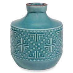 Vase aus blauer Keramik mit Motiven H. 22 cm AZTEQUE