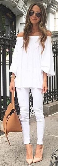 #spring #summer #highstreet #outfitideas  All White + Pop Of Nude                                                                             Source