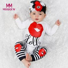 f8942e388a48 Newborn Kids Baby Girls Outfits Clothes Letter Print Romper Tops+Leg  Warmers Set Fashion Babe