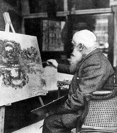 """Foto: Monet retocando """"El arco de las Flores"""""""