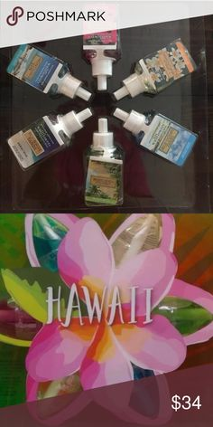 BBW wallflowers refils bulbs Hawaii set. Bath & Body Works Wallflower Refill Bulbs Hawaii Asst Scent Collection of 6 New in box  *Fiji White Sands * Honolulu Sun  Hawaiian Hibiscus  Vanilla Beach Flower  Blue Ocean Waves  Waikiki Beach Coconut No trades BBW Other