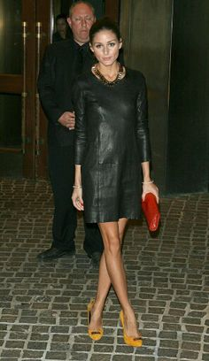 Olivia Palermo in a little leather dress + yellow heels. A much deserve Distinguished Style award winner! Looks Chic, Looks Style, Look Fashion, Autumn Fashion, Fashion Photo, Big Fashion, Fashion Black, Street Fashion, Style Olivia Palermo