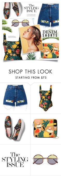 """""""#314) SUMMER ISSUE - DENIM SHORTS"""" by fashion-unit ❤ liked on Polyvore featuring Off-White, FAUSTO PUGLISI, Rifle Paper Co, Lizzie Fortunato, Sunday Somewhere and Nika"""