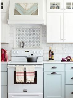 Like this inset of patterned tile above the stove, rather than an entire backsplash, which can be eye-crossing.