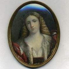 Antique English pre-Raphaelite Portrait Miniature, Beautiful Woman in Costume
