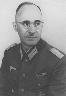 """Major Karl Plagge (1897-1957) Wehrmacht officer, engineer, and Nazi Party member who used his position as a staff officer to employ and protect some 1,240 Jews — 500 men, the others women and children, in order to help them survive the annihilation of Lithuania's Jews. He would later testify that """"I saw unbelievable things that I could not support...it was then that I began to work against the Nazis."""" The Yad Vashem Holocaust Memorial bestowed the title """"Righteous Among the Nations"""" on him."""