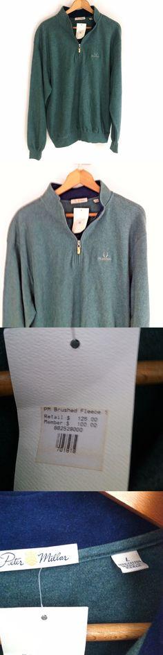 Sweaters 11484: Peter Millar Men S 1 4 Zip Green Long Sleeve Pullover Cotton Fleece Sweater Sz L -> BUY IT NOW ONLY: $59.99 on eBay!