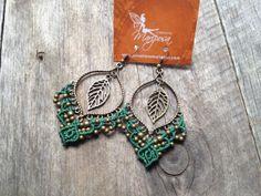 Micro macramé earrings boho jewelry macrame elven Hippie chic earrings leaf big bohemian wear gypsy woodland elf