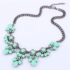 Flower Statement Necklace New Vintage Flower Crystal Bubble Bib Statement Women Necklace. In Green. Do not purchase this listing, I'll make a new listing. Jewelry Necklaces